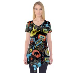 Music Pattern Short Sleeve Tunic