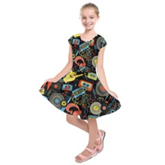 Music Pattern Kids  Short Sleeve Dress
