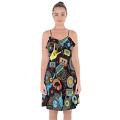 Music Pattern Ruffle Detail Chiffon Dress