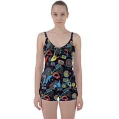Music Pattern Tie Front Two Piece Tankini