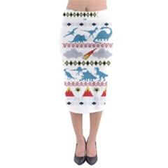 My Grandma Likes Dinosaurs Ugly Holiday Christmas Midi Pencil Skirt