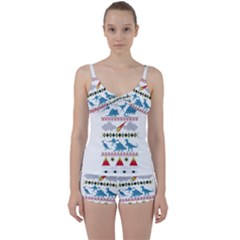 My Grandma Likes Dinosaurs Ugly Holiday Christmas Tie Front Two Piece Tankini