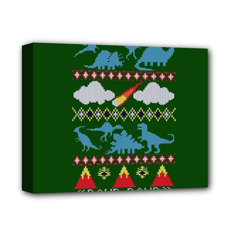 My Grandma Likes Dinosaurs Ugly Holiday Christmas Green Background Deluxe Canvas 14  X 11