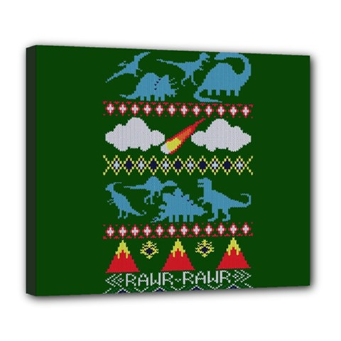 My Grandma Likes Dinosaurs Ugly Holiday Christmas Green Background Deluxe Canvas 24  X 20