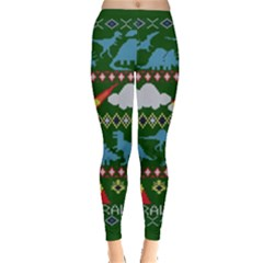 My Grandma Likes Dinosaurs Ugly Holiday Christmas Green Background Leggings