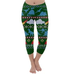 My Grandma Likes Dinosaurs Ugly Holiday Christmas Green Background Capri Winter Leggings