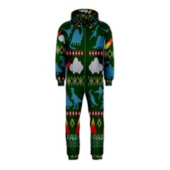 My Grandma Likes Dinosaurs Ugly Holiday Christmas Green Background Hooded Jumpsuit (kids)