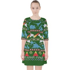 My Grandma Likes Dinosaurs Ugly Holiday Christmas Green Background Pocket Dress