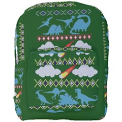 My Grandma Likes Dinosaurs Ugly Holiday Christmas Green Background Full Print Backpack