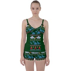 My Grandma Likes Dinosaurs Ugly Holiday Christmas Green Background Tie Front Two Piece Tankini