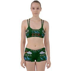 My Grandma Likes Dinosaurs Ugly Holiday Christmas Green Background Women s Sports Set