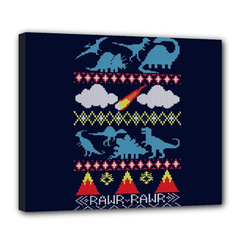My Grandma Likes Dinosaurs Ugly Holiday Christmas Blue Background Deluxe Canvas 24  X 20
