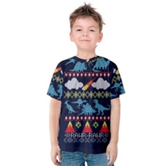My Grandma Likes Dinosaurs Ugly Holiday Christmas Blue Background Kids  Cotton Tee