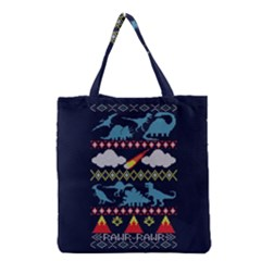 My Grandma Likes Dinosaurs Ugly Holiday Christmas Blue Background Grocery Tote Bag