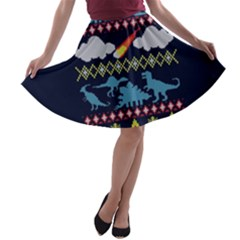My Grandma Likes Dinosaurs Ugly Holiday Christmas Blue Background A Line Skater Skirt
