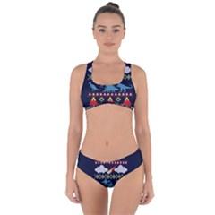 My Grandma Likes Dinosaurs Ugly Holiday Christmas Blue Background Criss Cross Bikini Set