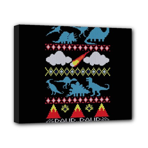 My Grandma Likes Dinosaurs Ugly Holiday Christmas Black Background Canvas 10  X 8