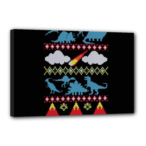 My Grandma Likes Dinosaurs Ugly Holiday Christmas Black Background Canvas 18  X 12