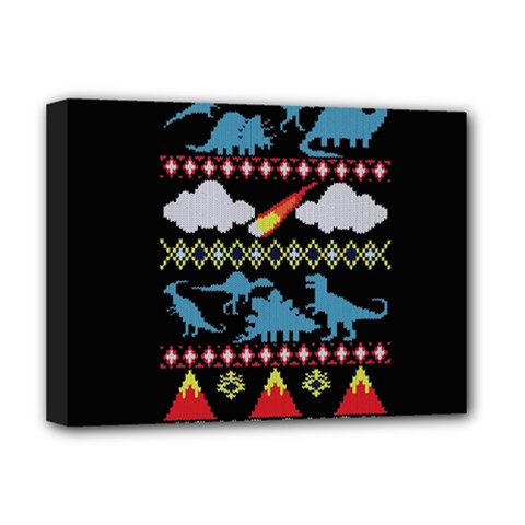 My Grandma Likes Dinosaurs Ugly Holiday Christmas Black Background Deluxe Canvas 16  X 12