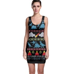 My Grandma Likes Dinosaurs Ugly Holiday Christmas Black Background Bodycon Dress
