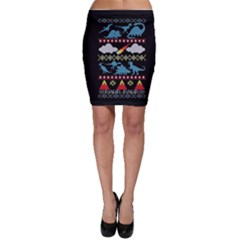 My Grandma Likes Dinosaurs Ugly Holiday Christmas Black Background Bodycon Skirt