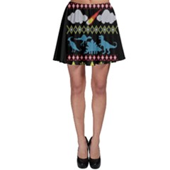 My Grandma Likes Dinosaurs Ugly Holiday Christmas Black Background Skater Skirt