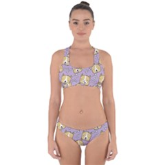 Corgi Pattern Cross Back Hipster Bikini Set