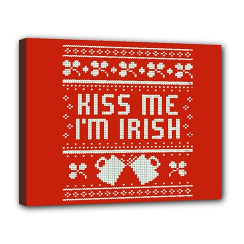 Kiss Me I m Irish Ugly Christmas Red Background Canvas 14  X 11