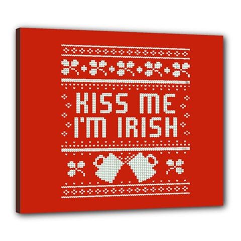 Kiss Me I m Irish Ugly Christmas Red Background Canvas 24  X 20