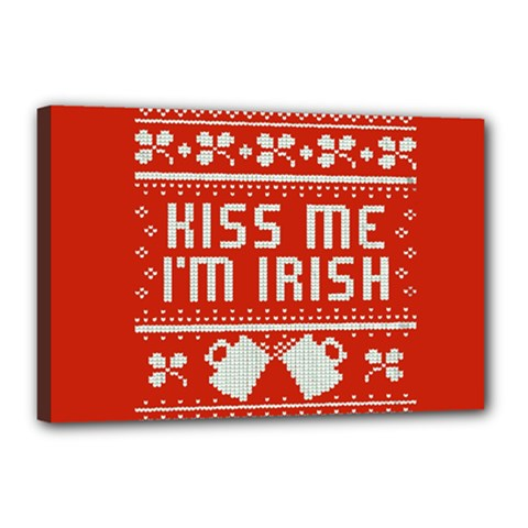 Kiss Me I m Irish Ugly Christmas Red Background Canvas 18  X 12