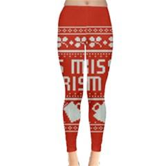 Kiss Me I m Irish Ugly Christmas Red Background Leggings