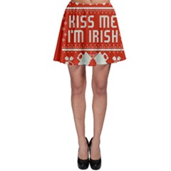 Kiss Me I m Irish Ugly Christmas Red Background Skater Skirt