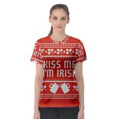 Kiss Me I m Irish Ugly Christmas Red Background Women s Sport Mesh Tee