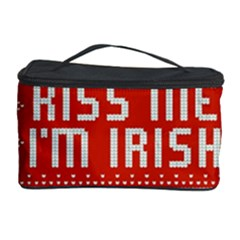 Kiss Me I m Irish Ugly Christmas Red Background Cosmetic Storage Case