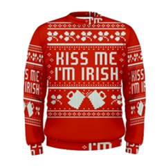 Kiss Me I m Irish Ugly Christmas Red Background Men s Sweatshirt