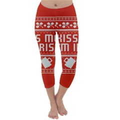 Kiss Me I m Irish Ugly Christmas Red Background Capri Winter Leggings