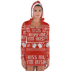 Kiss Me I m Irish Ugly Christmas Red Background Long Sleeve Hooded T Shirt