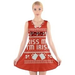 Kiss Me I m Irish Ugly Christmas Red Background V Neck Sleeveless Skater Dress