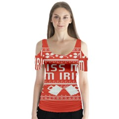 Kiss Me I m Irish Ugly Christmas Red Background Butterfly Sleeve Cutout Tee