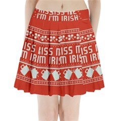 Kiss Me I m Irish Ugly Christmas Red Background Pleated Mini Skirt