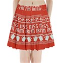 Kiss Me I m Irish Ugly Christmas Red Background Pleated Mini Skirt View1