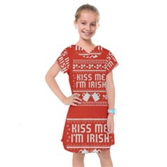 Kiss Me I m Irish Ugly Christmas Red Background Kids  Drop Waist Dress