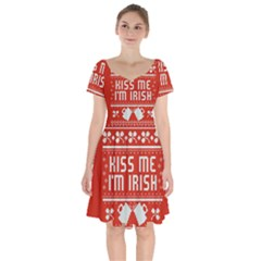 Kiss Me I m Irish Ugly Christmas Red Background Short Sleeve Bardot Dress