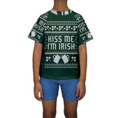 Kiss Me I m Irish Ugly Christmas Green Background Kids  Short Sleeve Swimwear