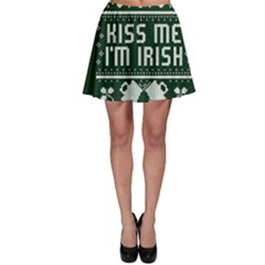 Kiss Me I m Irish Ugly Christmas Green Background Skater Skirt