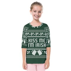 Kiss Me I m Irish Ugly Christmas Green Background Kids  Quarter Sleeve Raglan Tee