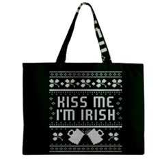 Kiss Me I m Irish Ugly Christmas Green Background Zipper Mini Tote Bag