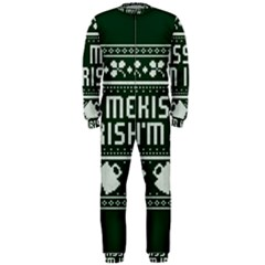 Kiss Me I m Irish Ugly Christmas Green Background Onepiece Jumpsuit (men)