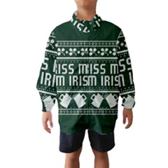 Kiss Me I m Irish Ugly Christmas Green Background Wind Breaker (kids)