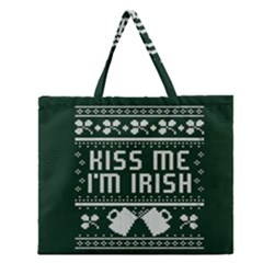Kiss Me I m Irish Ugly Christmas Green Background Zipper Large Tote Bag